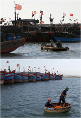 A combination photo shows people being ferried to larger boats in Dongfang, China and Ly Son island, Vietnam
