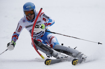 Muffat-Jeandet of France competes during the slalom run of men's Alpine Skiing World Cup Super Combined in Wengen