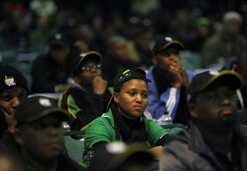 Delegates attend an African National Congress (ANC) policy meeting in Midrand