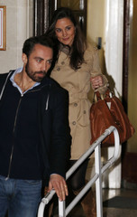Pippa Middleton and her brother James leave after visiting their sister Catherine, Duchess of Cambridge at the King Edward VII hospital in London