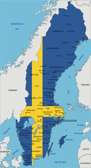 Sweden highly detailed political map with national flag.