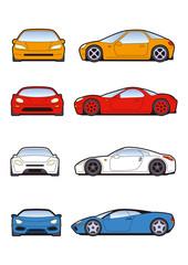 スポーツカー素材、アイコン、レーシングカー素材