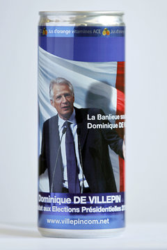 A can of orange juice with a campaign slogan for Dominique de Villepin, head of Republique Solidaire center-right political party and candidate for the 2012 French presidential election, is seen in Paris