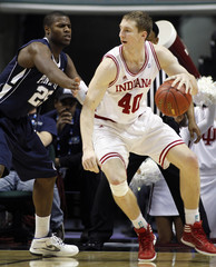Indiana's Zeller moves against Penn State's Graham during an NCAA basketball game in Indianapolis