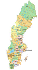 Sweden - Highly detailed editable political map with labeling.