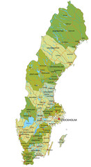 Highly detailed editable political map with separated layers. Sweden.