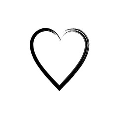 Vector black heart. Hand drawn, icon on a white background