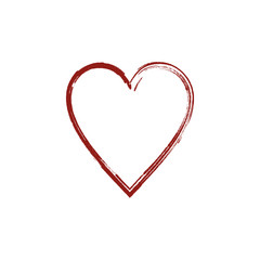 Vector red heart. Hand drawn, icon on a white background