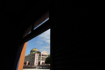 A view of the Amazonas Theatre, one of the main tourist spots of Manaus, in northern Brazil