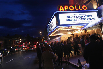 The exterior of the famed Apollo Theater is seen before Bruce Springsteen and the E Street Band took the stage for SiriusXM's 10th anniversary celebration in Harlem, New York