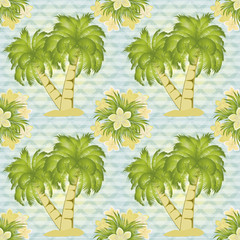 Palm tree seamless pattern, vector illustration