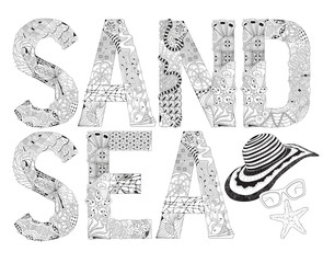 Word SAND and SEA for coloring. Vector decorative zentangle object