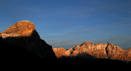Dolomite mountains are pictured at the sunset in Alta Badia