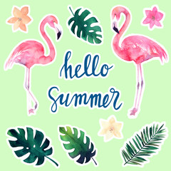 Watercolor set of stickers tropical leaves and flamingos