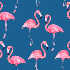 Watercolor seamless pattern with exotic flamingo on blue background. Summer decoration print for wrapping, wallpaper, fabric