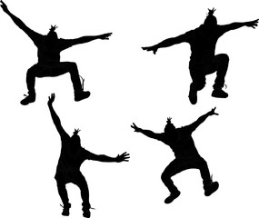 Jumping man's silhouette