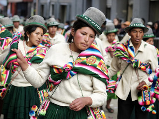 Indigenous people dance during the Anata Andina parade in Oruro