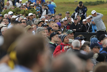 Wiesberger of Austria watches his tee shot on the fourth hole during the second round of the British Open golf championship on the Old Course in St. Andrews, Scotland