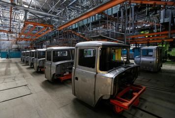 Cabins of KrAZ trucks are seen at Kremenchuk automobile plant in Kremenchuk