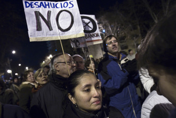 Tapia cries during a protest against bank evictions in Madrid