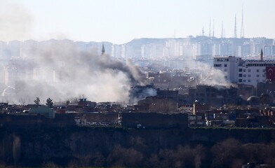 Buildings which were damaged during security operations and clashes between Turkish security forces and Kurdish militants are pictured in Sur district of Diyarbakir