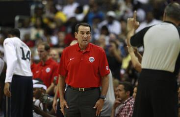 Team USA coach Mike Krzyzewski reacts during their Olympic men's exhibition basketball game against Brazil in Washington