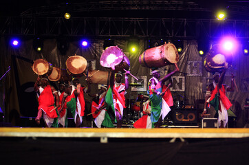 Drummers from Burundi perform during the closing ceremony of the MASA Festival in Abidjan