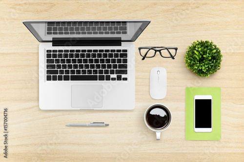 Merveilleux Flat Lay Image Of Hipster Office Desk Table With Laptop, Smartphone,  Gadgets And Supplies