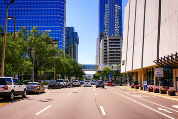 Buildings and vehicles on North Tampa Street in downtown Tampa FL