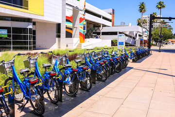 Blue Rental cycles in downtown Tampa Florida