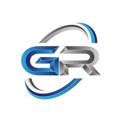 Simple initial letter logo modern swoosh GR