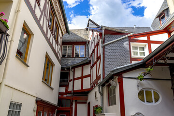 Public street view with romantic half-timbered houses of Bacharach on the Rhine. Rhineland-Palatinate. Germany.