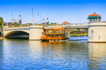Water-Taxi passes under the West Kennedy Street drawbridge over the Hillsboro River in downtown Tampa FL
