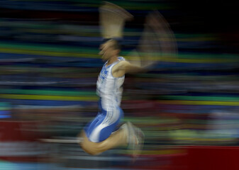 Tsatoumas of Greece competes in the Long jump Men Qualification event at the European Athletics Indoor Championships in Gothenburg