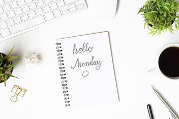 Wall Mural - Notebook page with hello monday text. Top view, flat lay.
