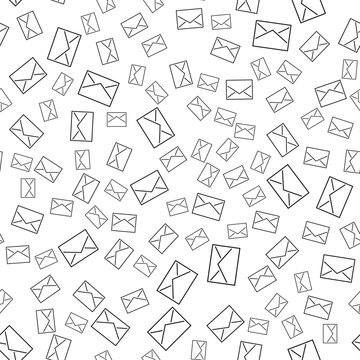 Seamless pattern with mail envelopes. Vector background for postal delivery.