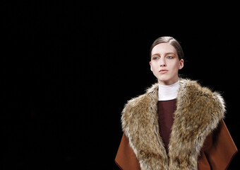 A model presents a creation at the BCBG Max Azria Fall/Winter 2011 collection during New York Fashion Week