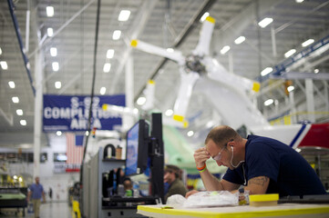 Aircraft technicians assemble S-92A helicopters at Sikorsky Global Helicopters in Coatesville, Pennsylvania