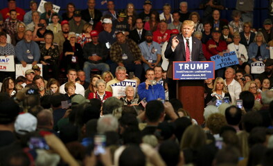 U.S. Republican presidential candidate Donald Trump gestures as he speaks during a campaign event in Anderson
