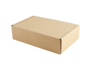 closed carton box with blank cover isolated on white background, for postal delivery