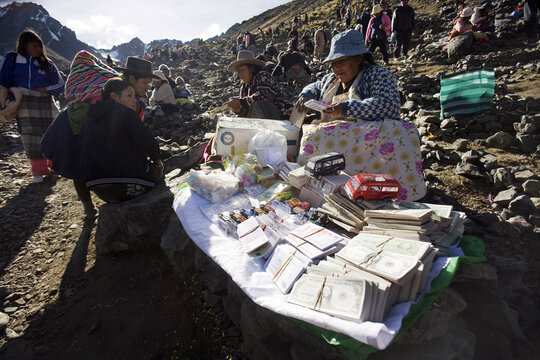 "An Alasitas fair stall is seen during celebrations in honor of the Lord of ""Qoyllur Rit'i"" at the Sinakara Valley in Cuzco"
