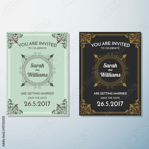 wedding invitation vintage flyer background design template fotolia