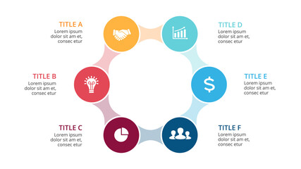 Vector circle arrows metaball infographic, cycle diagram, graph, presentation chart. Business concept with 6 options, parts, steps, processes. 16x9 slide template.