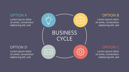 Vector circle arrows infographic, cycle diagram, graph, presentation chart. Business concept with 4 options, parts, steps, processes. 16x9 dark slide template.