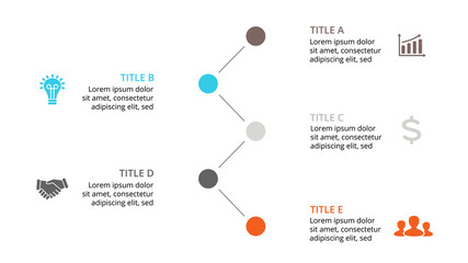 Vector circle timeline infographic, cycle diagram, graph, presentation chart. Business concept with 5 options, parts, steps, processes. 16x9 dark slide template.