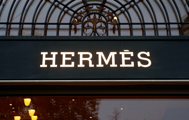 Logo of French luxury group Hermes at a store in Zurich