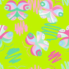 Cute colorful pattern with butterflies, vector. Good for children's goods, print on fabric, decor in a nursery, background, backdrop, gadgets and more