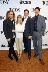 Tim Minchin, Lauren Ward, Bertie Carvel, and Gabriel Ebert, all nominated for a Tony Award for their work in the play Matilda the Musical, arrive for the 2013 Tony Awards Meet The Nominees Press Reception in New York