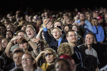 Republican supporters for Governor Scott Walker react to early poll results for the U.S. midterm race on election night, in Milwaukee, Wisconsin