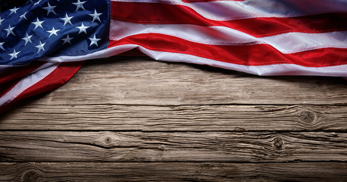 Usa Flag On Vintage Wooden Background